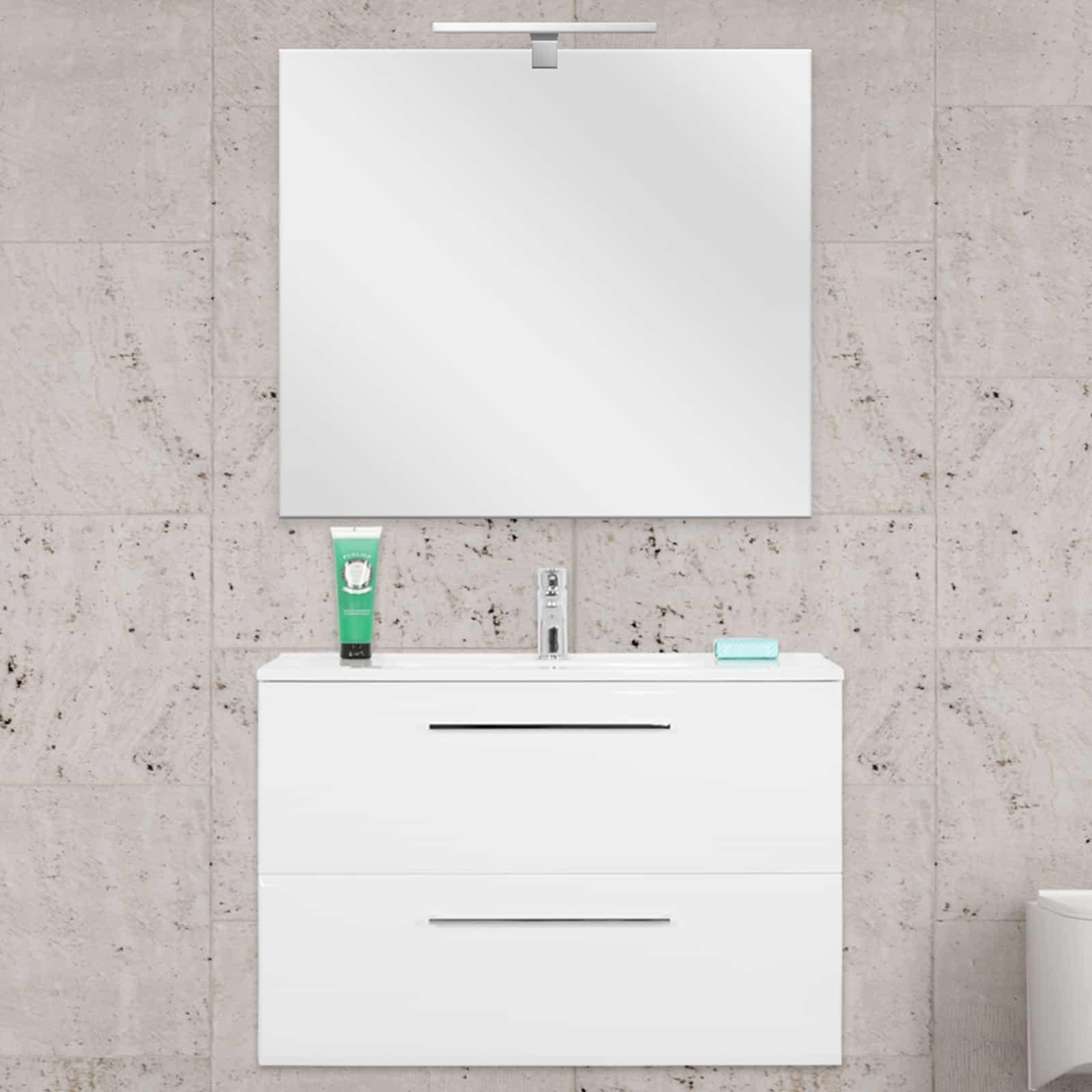Mobile bagno sospeso 80 cm bianco laccato specchio filolucido