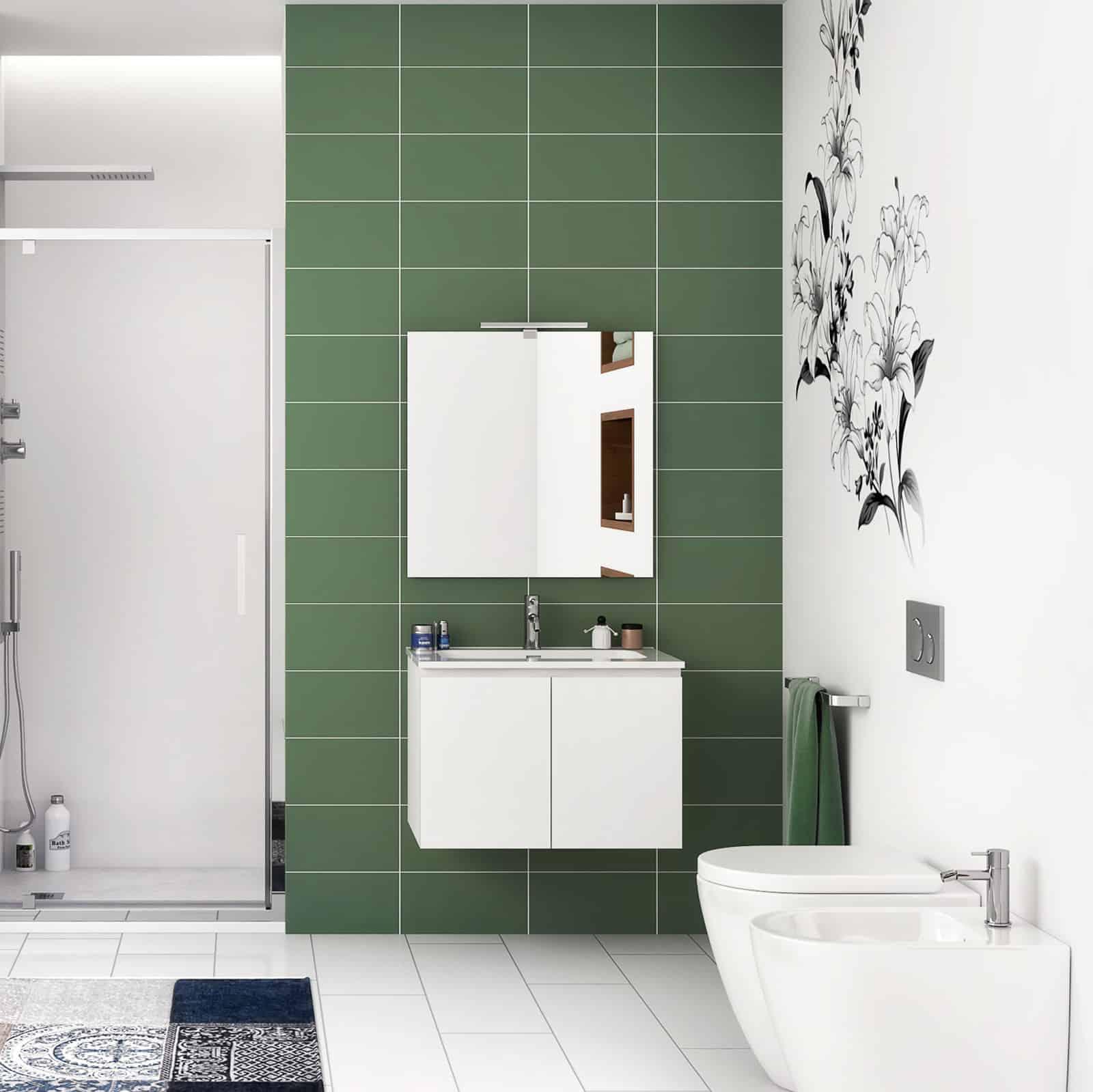 Mobile sospeso moderno 60 cm bianco lucido 2 ante con lavabo e specchio